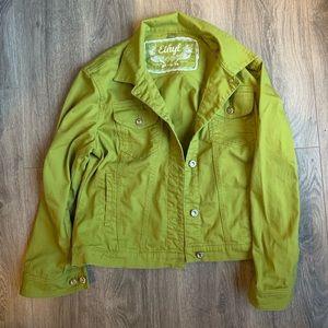Jackets & Blazers - Green denim jacket with shiny buttons!